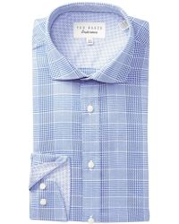 Ted Baker - Check Trim Fit Dress Shirt - Lyst