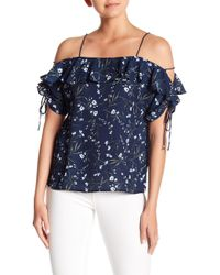 Cece by Cynthia Steffe - Cold Shoulder Floral Blouse - Lyst