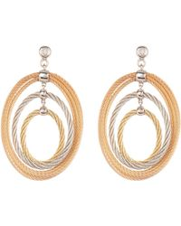 Alor - 18k Gold Diamond Accented Stud & Tricolor Twisted Cable Layered Oval Dangle Earrings - 0.01 Ctw - Lyst