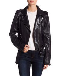 BLANC NOIR - Vintage Faux Suede Belted Moto Jacket - Lyst