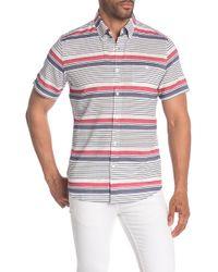 Wallin & Bros. - Yard Stripe Short Sleeve Slim Fit Shirt - Lyst