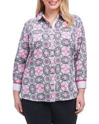 Foxcroft - Ava Mosaic Tile Shirt (plus Size) - Lyst