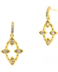 Freida Rothman - 14k Gold Plated Sterling Silver Amazonian Allure Marquise Cz Drop Earrings - Lyst