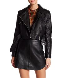 W118 by Walter Baker | Cropped Sheep Leather Moto Jacket | Lyst