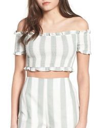 afa363e8f42335 The Fifth Label - Poetic Stripe Off The Shoulder Crop Top - Lyst