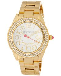 Betsey Johnson - Women's Bedazzled Crystal Embellished Bracelet Watch, 40mm - Lyst