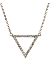 Bony Levy - 18k White Gold Pave Diamond Triangle Pendant Necklace - 0.09 Ctw - Lyst