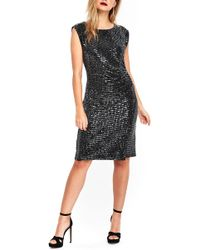 Wallis - Sequin Side Ruched Dress - Lyst