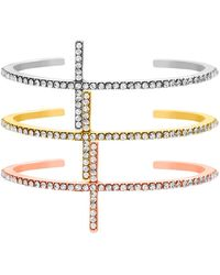 Steve Madden - Rhinestone Cross Cuff Tri-tone Bracelet - Set Of 3 - Lyst
