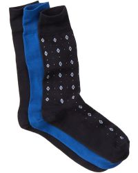 Cole Haan - Neat Diamonds Crew Socks - Pack Of 3 - Lyst