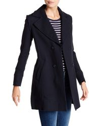 FRAME - Raw Double Breasted Coat - Lyst