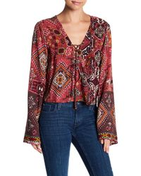 Raga - Rustic Woodland Print Lace-up Blouse - Lyst