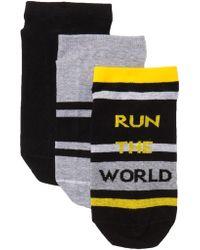 Hue - Sporty Footsie Socks - Pack Of 3 - Lyst