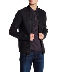 John Varvatos | Wool Blended Cable Knit Cardigan | Lyst