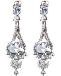 CZ by Kenneth Jay Lane - Eiffel Tower Oval Cz Drop Earrings - Lyst