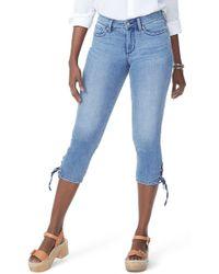 NYDJ - High Waist Lace Up Hem Capri Jeans (point Dume) - Lyst