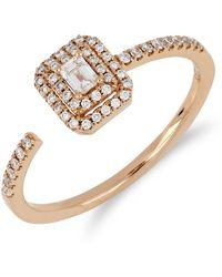 Bony Levy - 18k Rose Gold Faceted Baguette & Halo Set Diamond Detail Open Ring - 0.30 Ctw - Lyst