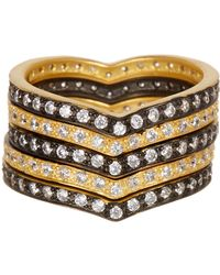 Freida Rothman - 14k Gold Plated Sterling Silver Cz Contemporary Deco King Of Hearts Ring - Set Of 5 - Lyst