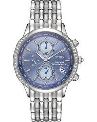 Citizen - Women's Eco-drive World Chronograph A-t Diamond-accent Bracelet Watch, 38mm - Lyst