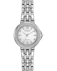 Citizen - Women's Eco-drive Diamond Accent Stainless Steel Bracelet Watch 28mm Em0440-57a - Lyst