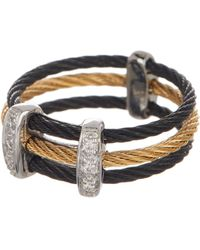Alor - 18k White Gold & Two-tone Stainless Steel Cable Pave Diamond Ring - Size 7 - 0.05 Ctw - Lyst