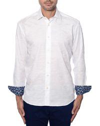 Bertigo - White Camo Jacquard Button Front Shirt - Lyst