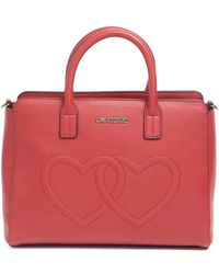 Love Moschino - Embossed Hearts Pu Handle Bag - Lyst
