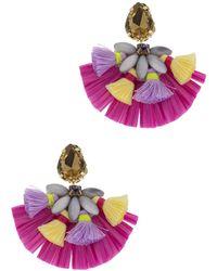 Saachi - Fiesta Glass Stone & Mother Of Pearl Beaded Raffia Fan Drop Earrings - Lyst