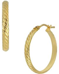 Bony Levy - 14k Yellow Gold Etched 22mm Hoop Earrings - Lyst