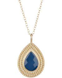 Anna Beck - 18k Gold Plated Sterling Silver Blue Quartz Teardrop Pendant Necklace - Lyst