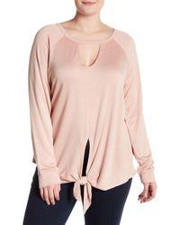 Bobeau - Tie Front Cutout Pullover (plus Size) - Lyst
