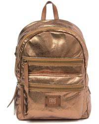 Frye - Ivy Metallic Leather Trimmed Backpack - Lyst