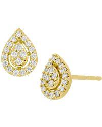 Bony Levy - 18k Yellow Gold Pave Diamond Pear Stud Earrings - 0.18 Ctw - Lyst