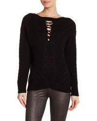 Dex - Lace-up Front Cable Knit Jumper - Lyst