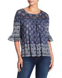 Lucky Brand - Printed Ruffle Sleeve Blouse - Lyst