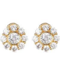 Judith Ripka - Yellow Gold Plated Sterling Silver Cz Floral Halo Stud Earrings - Lyst