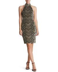 Dress the Population - Avery Geometric Burnout Velvet Halter Dress - Lyst