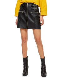 c300165858 Lyst - TOPSHOP Black Ribbed Pleated Skirt in Black