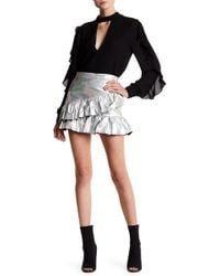 Oober Swank - Ruffled Metallic Mini Skirt - Lyst