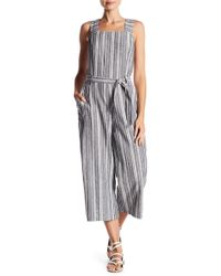 Vince Camuto - Striped Belted Crop Jumpsuit - Lyst