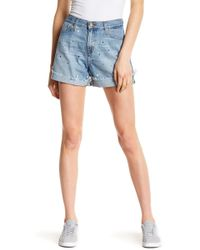 Big Star - Farrah High Rise Star Print Boyfriend Shorts - Lyst