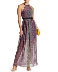 BCBGeneration - Patterned Ruffle Mock Neck Maxi Dress - Lyst