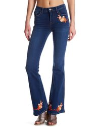 Genetic Denim - Florence Floral Embroidered Flare Jean - Lyst