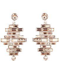 Oscar de la Renta - Stacked Baguette Crystal Drop Earrings - Lyst
