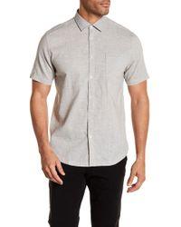 Good Man Brand - Short Sleeve Knit Trim Fit Woven Shirt - Lyst