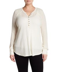 Lucky Brand - Button Front Needle Top (plus Size) - Lyst