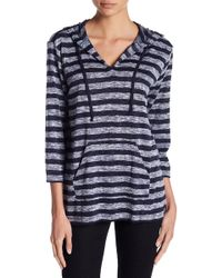 Two By Vince Camuto - Striped V-neck Hoodie - Lyst