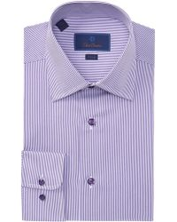 c950d611e Lyst - David Donahue Trim Fit Stripe Dress Shirt in Purple for Men