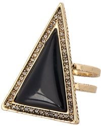House of Harlow 1960 - Pave Crystal Black Lapis Triangle Theorem Ring - Size 7 - Lyst
