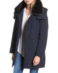 French Connection - Hooded Anorak With Detachable Faux Fur Collar - Lyst